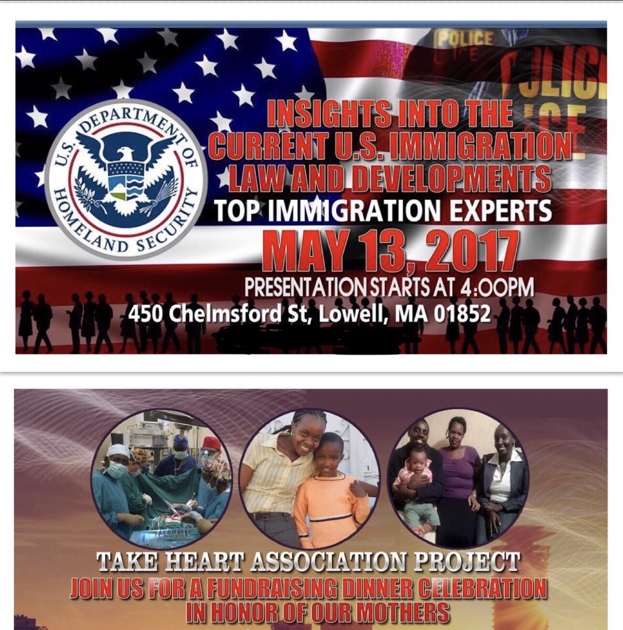 IMMIGRATION INFORMATION SESSION & MOTHER'S DAY CHARITY DINNER