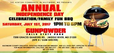 The Kenyan Community in Baltimore, Maryland invites you to the Annual Independence Day Celebration/Family Fun Day & BBQ on Saturday, July 1st, 2017.