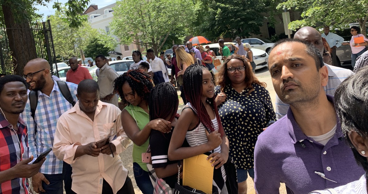 Kenyans outside the Embassy in Washinton, DC