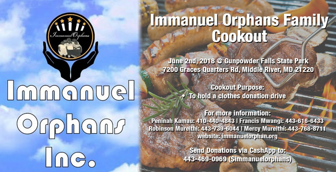 Immanuel Orphans Inc Family Cookout in Baltimore, Maryland: June 2nd, 2018