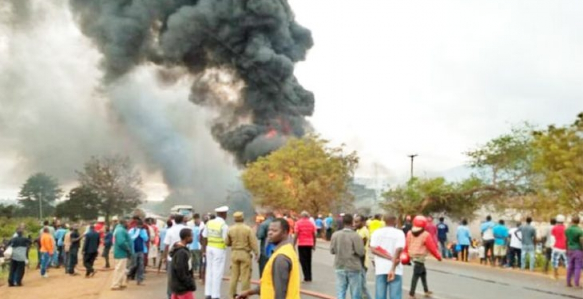 60 people killed and 70 others hospitalized after a fuel tanker explodes in Tanzania, victims were siphoning fuel