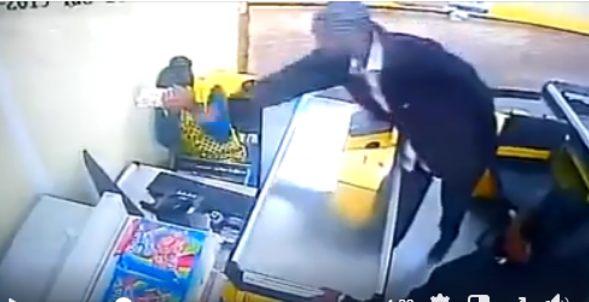 [VIDEO] Uproar as Kenyan Man is Captured on CCTV Beating Female Supermarket Cashier