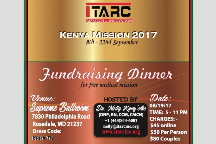 ITARC Fundraising Dinner Gala to Support a Free Medical Mission to Kenya: Sat, Aug 19th in Baltimore, MD