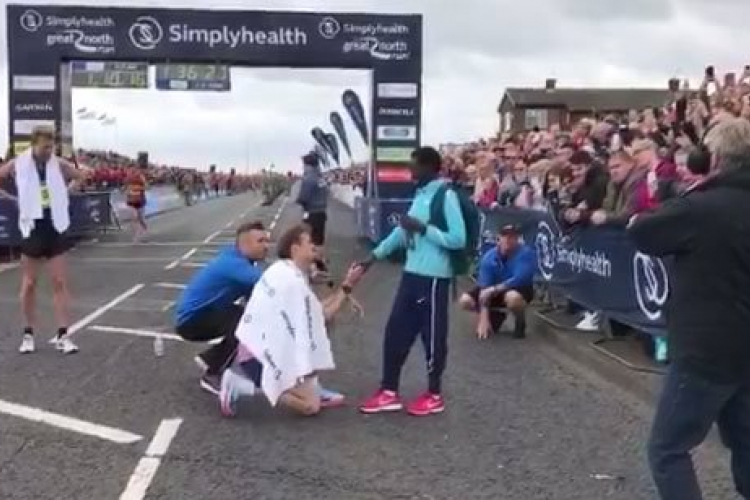 Kenyan Athlete Magdalyn Masai's New Zealand Boyfriend Proposes to Her at Marathon Finish Line in the UK
