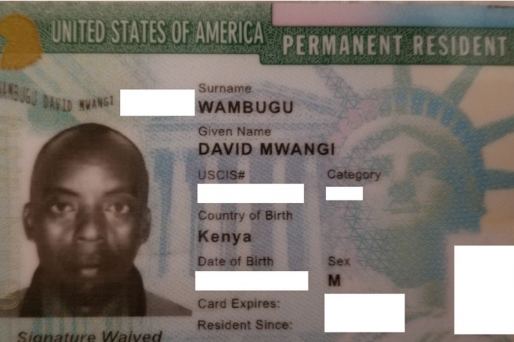 Lost and Found Green Card in Baltimore, MD Belonging to a Kenyan National