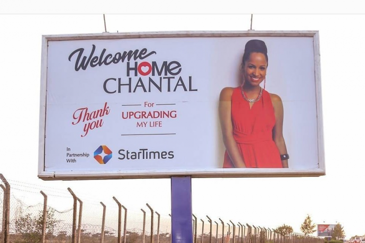Comedian Eric Omondi Erects Giant Billboard Outside JKIA to Welcome His Italian Fiancée Back to Kenya