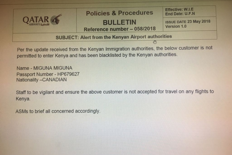 International Airlines Blacklist Miguna Miguna from Traveling to Kenya after Orders by Immigration Authorities