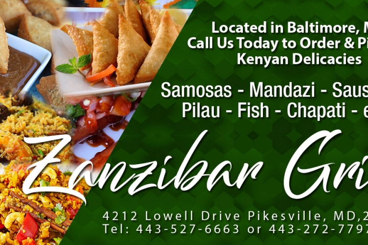 Call Zanzibar Grill in Baltimore, MD to Order Your Favorite Kenyan Delicacies