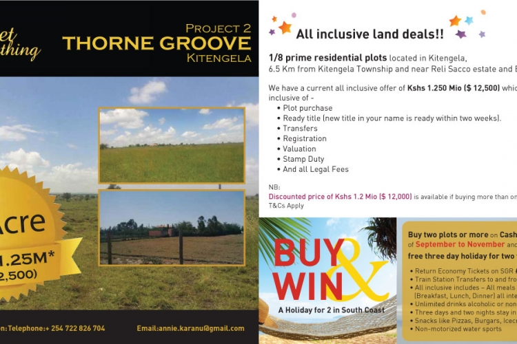 Buy Two or More Plots at Thorne Groove in Kitengela for a Chance to Win 3-Day Holiday for Two to South Coast