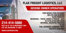 Flax Freight Logistics Seeking Owner Operators; Sign-on Bonuses Available