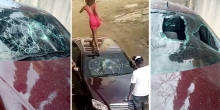 Video of Kenyan Girl Smashing Boyfriend's Mercedes Benz for Allegedly Cheating on Her Goes Viral Online